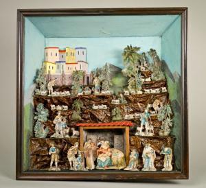 Szopka kasetowa z Nowej Rudy, drewno, papier mache, koniec XIX w. Muzeum Ziemi Kłodzkiej